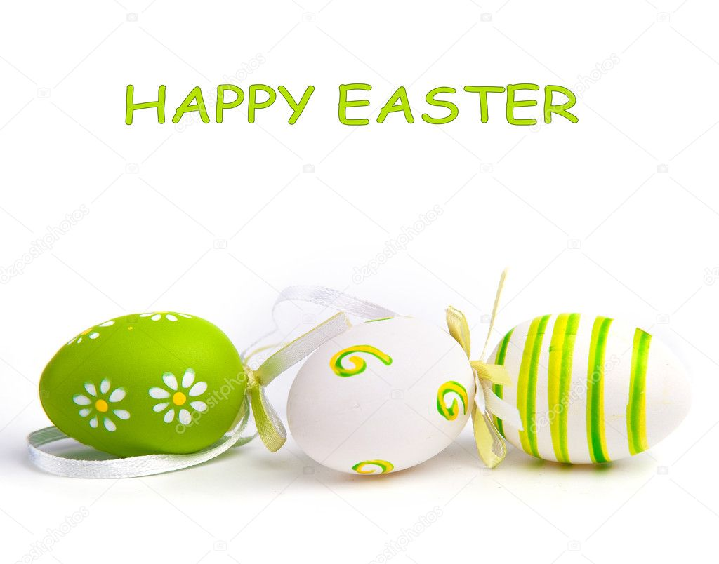 Painted Colorful Easter Egg on white background  Stock Photo #5266040