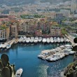 Yachts and apartments in port Fontvielle in Monte Carlo — Stock Photo