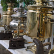 Antique samovars and irons — Stock Photo