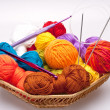 Basket with thread and balls for knitting — Stock Photo