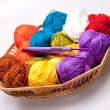 Basket with thread and balls for knitting — Stock Photo #4037701
