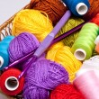 Basket with thread and balls for knitting — Stock Photo #4037750