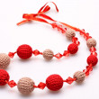 Necklace of beads knitted — Stock Photo