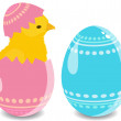 Easter egg with chicken — Stock Vector