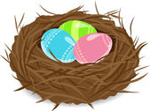 Easter eggs in nest — Stock Vector