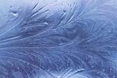 在玻璃上的冰模式 — 图库照片