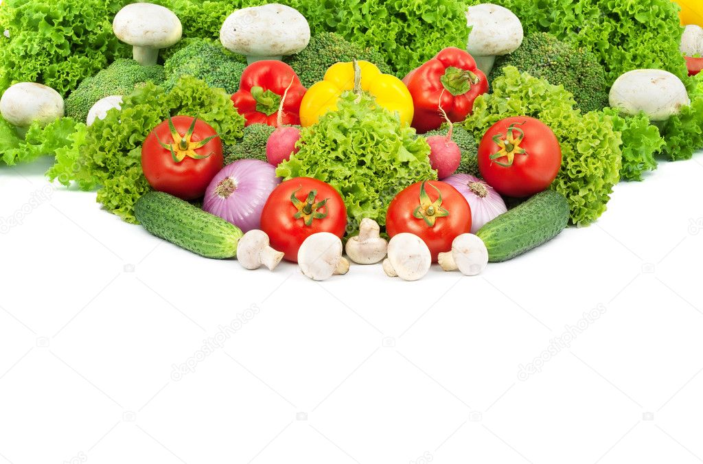 Assorted fresh vegetables isolated on white background — Stock Photo #3969545