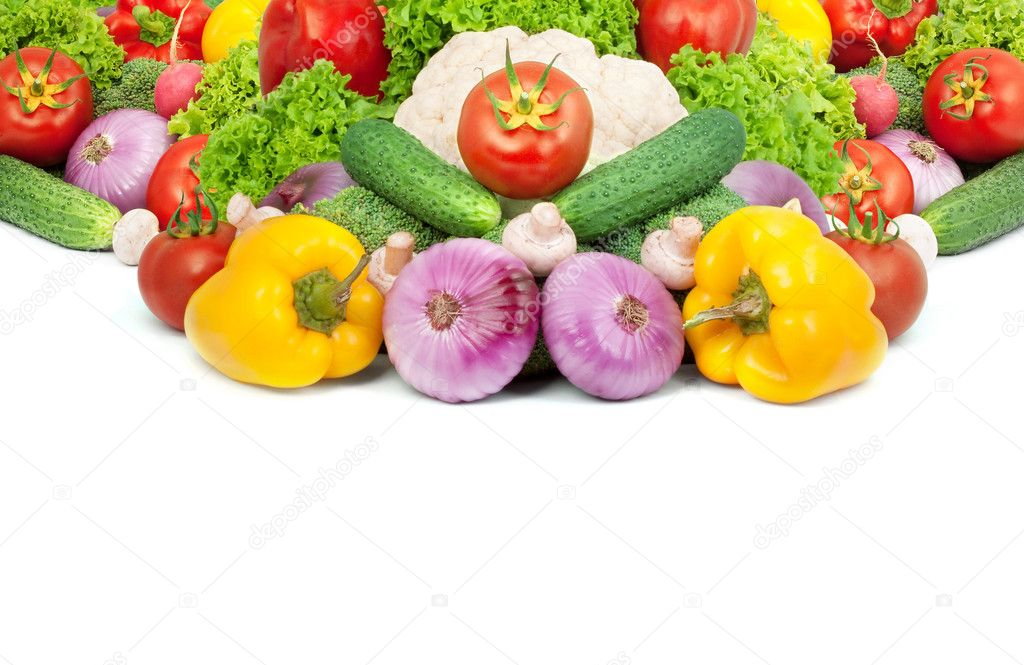 Assorted fresh vegetables isolated on white background — Stock Photo #3969557