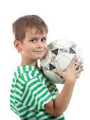 Chłopiec posiadania piłki nożnej — Zdjęcie stockowe