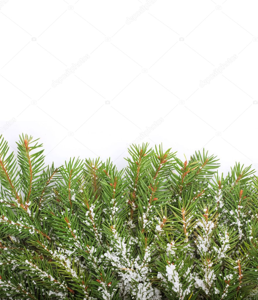Christmas framework with snow isolated on white background — Stock Photo #4271491