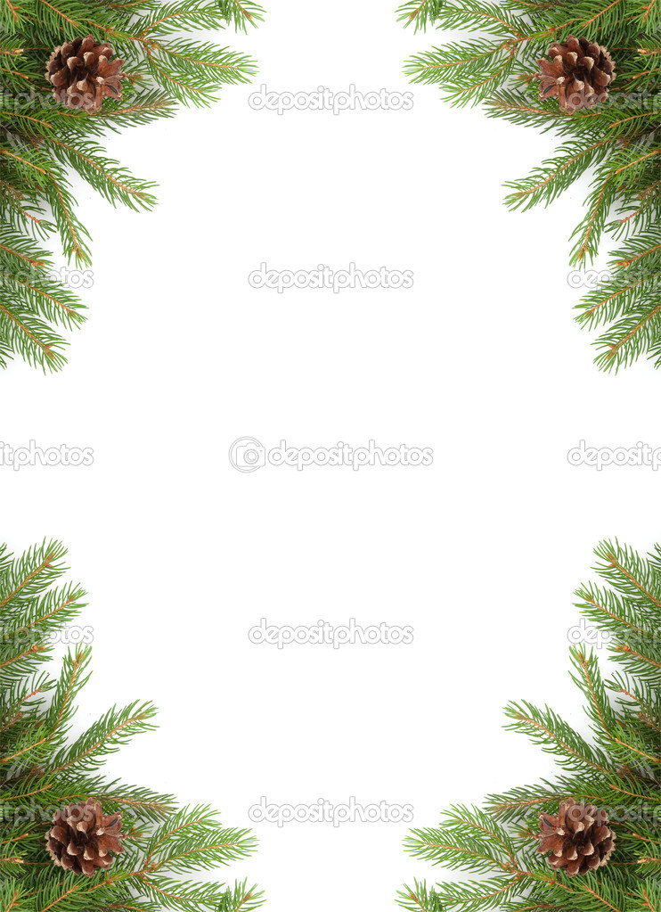 Christmas green  framework isolated on white background  Stock Photo #4424895