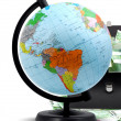 Globe, money and briefcase — Stock Photo