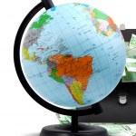 Globe, money and briefcase — Stock Photo