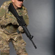 Soldier with rifle — Stock Photo #4435851