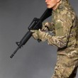 Soldier with rifle — Stock Photo #4435855