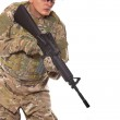Soldier with rifle — Stock Photo #4435857
