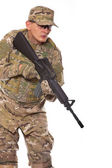Soldier with rifle — Stock Photo