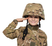 Saluting soldier. Young boy — Stock Photo