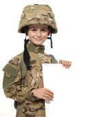 Young soldier holding a poster — Stock Photo
