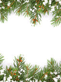 Christmas framework with snow isolated on white background — Stockfoto