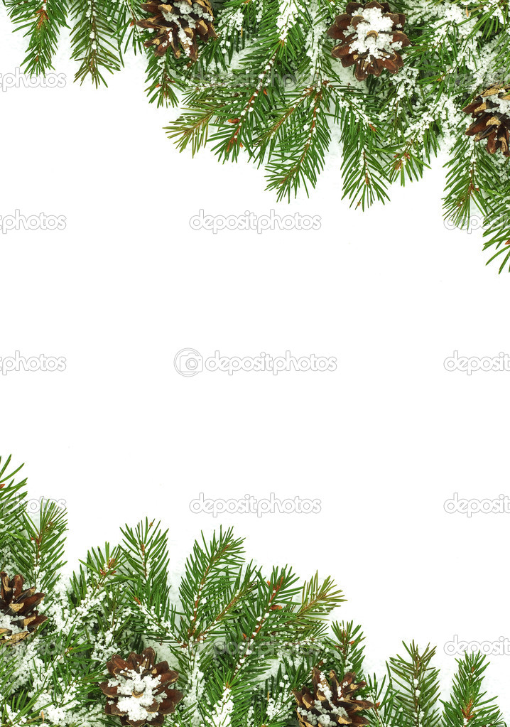 Christmas framework with snow isolated on white background — Stock Photo #4555160