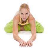 Practicing Yoga. Young woman — Stock Photo