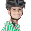 Boy bicyclist with helmet - Stock Photo