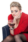 Woman in Red with wine glass — Stock Photo