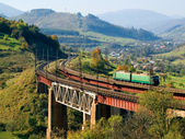 Train on bridge. — Stock Photo