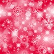 Christmas seamless red background with glitter white snowflakes. — Vektorgrafik