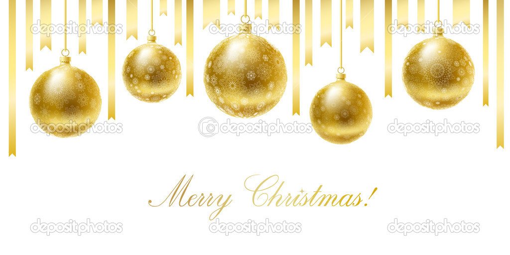 Merry Christmas greeting card with golden balls and ribbons.  Stock Vector #4342541