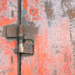 Stock Photo: Hinge on rusty door.