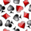 Playing card symbols seamless pattern. — Stockvector