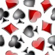 Playing card symbols seamless pattern. — Stockvektor