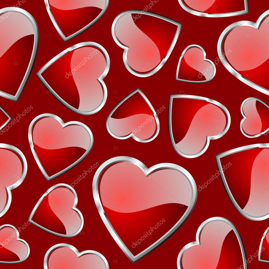 Hearts seamless pattern - vector background for continuous replicate. See more seamless patterns in my portfolio. — Stock Vector #4593561