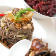 Stock Photo: Soba noodles with mushrooms and shrimps