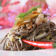 Soba noodles with mushrooms and shrimps — Stock Photo #4240548