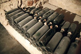 Aged wine bottles — Stock fotografie