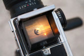 Sunrise through the viewfinder — Stock Photo