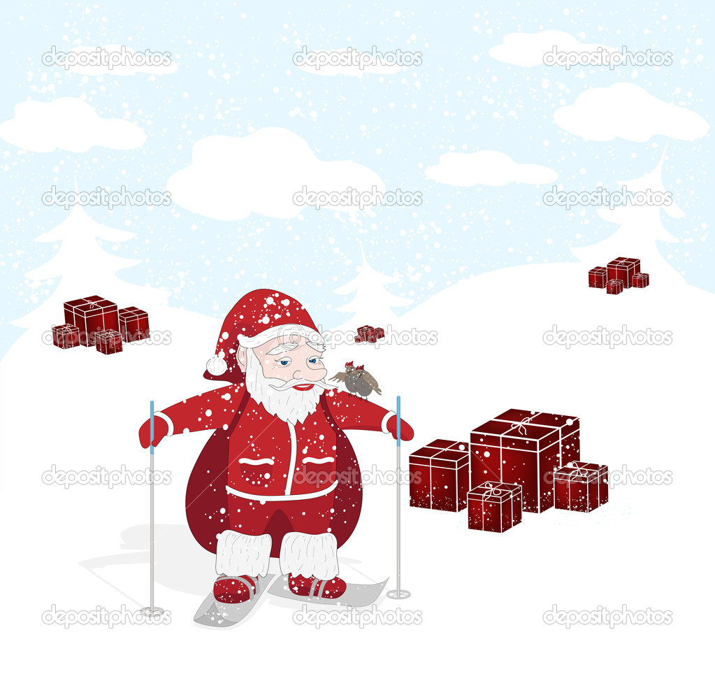 Vector Christmas illustration with Santa, snow and birds — Stock Vector #4341189