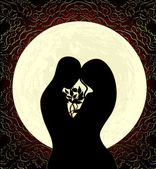 Lovers and moon — Vector de stock