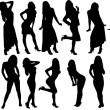 Collection silhouette women — Stock Photo
