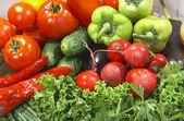 Kolorowe grupy świeżych warzyw — Zdjęcie stockowe