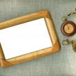 Wooden frame with old watch — Foto Stock