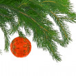 Christmas fur tree with sphere - Stock Photo