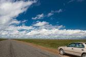 Carro e paisagem do deserto — Foto Stock