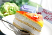 Cake with candle for birthday — Stock Photo