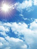 Cloudy sky and sun — Stock Photo