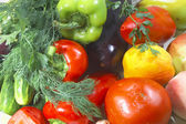 Colorful fresh group of vegetables and fruits — ストック写真