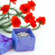 Flower and gift box — Stock Photo